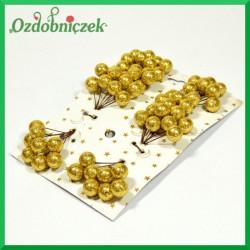 Brokatowe kuleczki złote BLISTER 8 gałązek 8 owoców na każdej