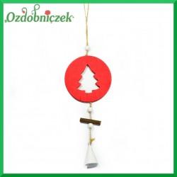 Zawieszka drewniana BOMBKA czerwona z choinką 9cm