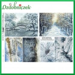 Papier do decoupage KLASYCZNY A4 D0499M - pejzaże zimowe