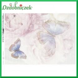 Papier do decoupage KLASYCZNY A4 D0484M - motylki na różach