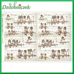 Papier do decoupage KLASYCZNY A4 D0425M - dzieci na ławeczkach