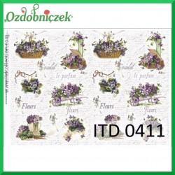Papier do decoupage KLASYCZNY A4 D0411M - fleurs fioletowe