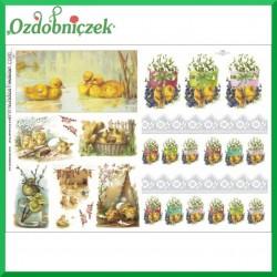 Papier do decoupage KLASYCZNY A4 D0386M - kaczuszki