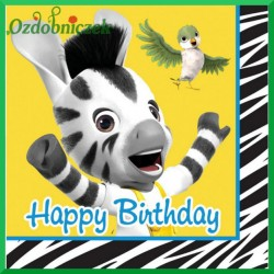 Serwetka do decoupage ZEBRA ZOU HAPPY BIRTHDAY