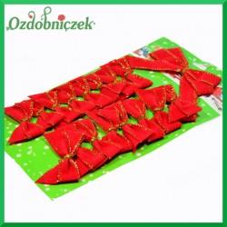 Kokardki ozdobne czerwono-złote 16szt małych + 1szt. duża