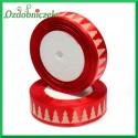Tasiemka SATYNOWA czerwona z motywem CHOINEK 25mm/1mb