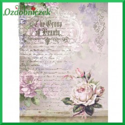Papier do decoupage SOFT A4 -  S253 róże i napisy