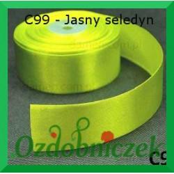 Wstążka tasiemka satynowa 25mm jasny seledyn C99 SZTYWNA