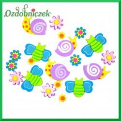 Naklejki z pianki motyle kwiatki i slimaki 20szt