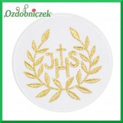 Naszywka  IHS i liście -złota