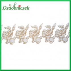 Aplikacje króliczki z jajeczkiem biało/brązowy