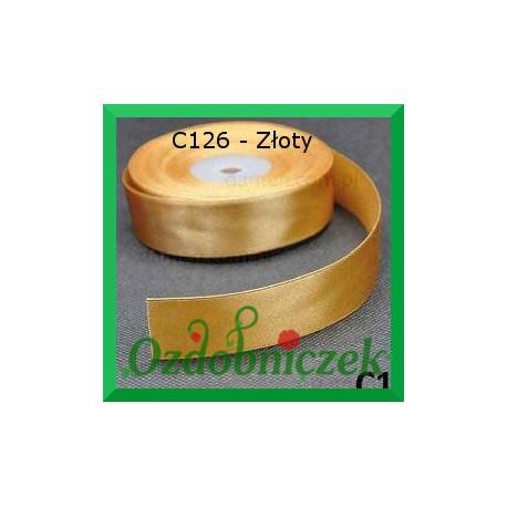 Tasiemka satynowa 25mm złota C126 SZTYWNA