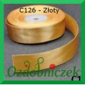 Wstążka satynowa, tasiemka 25mm złota C126 SZTYWNA