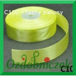 Wstążka tasiemka satynowa 25mm jasny zielony C100 SZTYWNA