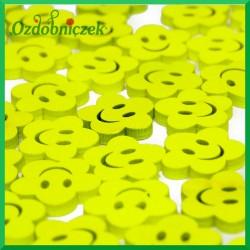 UŚMIECHNIĘTE BUŹKI - kwiatki z drewna żółte 72szt