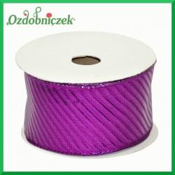 Tasiemka metalizowana fioletowa w paski 4cm/8mb