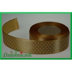 Tasiemka satynowa w kropki 25mm złota/22mb
