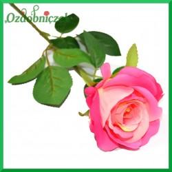 RÓŻA na długiej łodydze - żółto-różowa