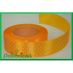 Tasiemka satynowa w kropki 25mm żółta/1mb