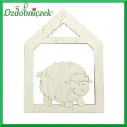 Zawieszka ze sklejki domek z owieczka