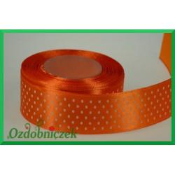 Tasiemka satynowa w kropki 25mm pomarańczowa/1mb
