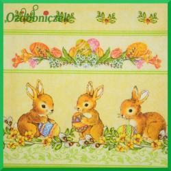 Serwetka do Decoupage króliczki z pisankami kwiatki bazie