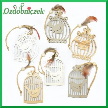 Klatki drewniane z ptaszkami DUŻE - zawieszka ozdobna 6szt. (trzy kolory dwa rodzaje)