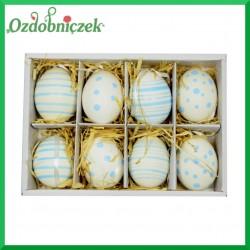 Jajka niebieskie z zawieszką - zestaw pudełko 8szt./8cm