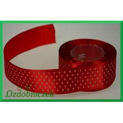 Tasiemka satynowa w kropki 25mm czerwona/1mb