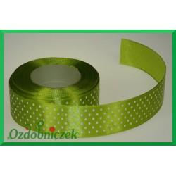 Tasiemka satynowa w kropki 25mm jasna zielona/1mb