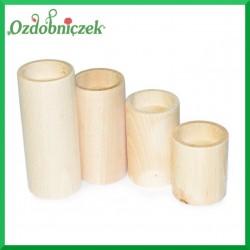 Drewniane świeczniki okrągłe - zestaw 4 szt.