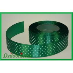 Wstążka tasiemka satynowa w kropki 25mm zielona/22mb