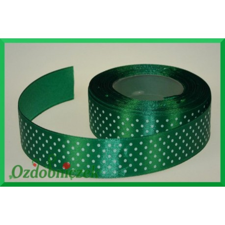 Tasiemka satynowa w kropki 25mm zielona/22mb