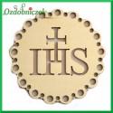 Emblemat ażurowy okrągły IHS ze sklejki 8cm