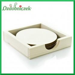 Drewniane pudełko + 6 podkładek okrągłych
