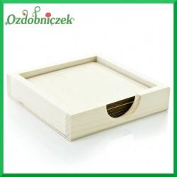 Drewniane pudełko + 6 podkładek kwadratowych