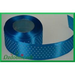 Tasiemka satynowa w kropki 25mm niebieska/1mb