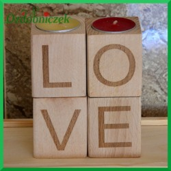 Drewniane świeczniki - zestaw 4 szt Grawer