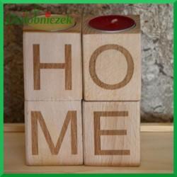 Drewniane świeczniki - zestaw 4 szt Home