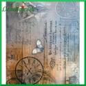 Papier ryżowy A4 - ZEGAR ANIOŁ MOTYL R1411