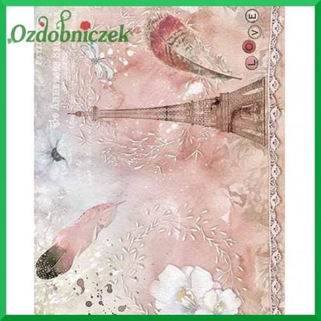 Papier ryżowy A4 - KORALOWY PARYŻ R1412