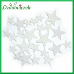 Gwiazdki brokatowe 24 szt.- BIAŁE