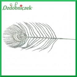Liść brokatowy pawie pióro 1 szt. SREBRNY