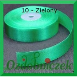 Wstążka tasiemka satynowa 25mm zielona 10 SZTYWNA