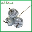 Brokatowe jabłuszka na druciku 3 szt/ SREBRNE