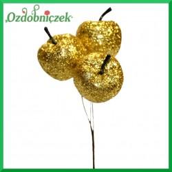 Brokatowe jabłuszka na druciku 3 szt/ ZŁOTE