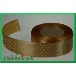 Tasiemka satynowa w kropki 12mm złota/1mb