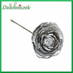 Róża cedrowa na piku 10szt.- SREBRNA BROKATOWA