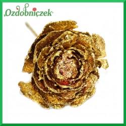 Róża cedrowa na piku 10szt.- ZŁOTA BROKATOWA