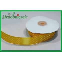 Wstążka tasiemka satynowa w kropki 12mm żółta/22mb
